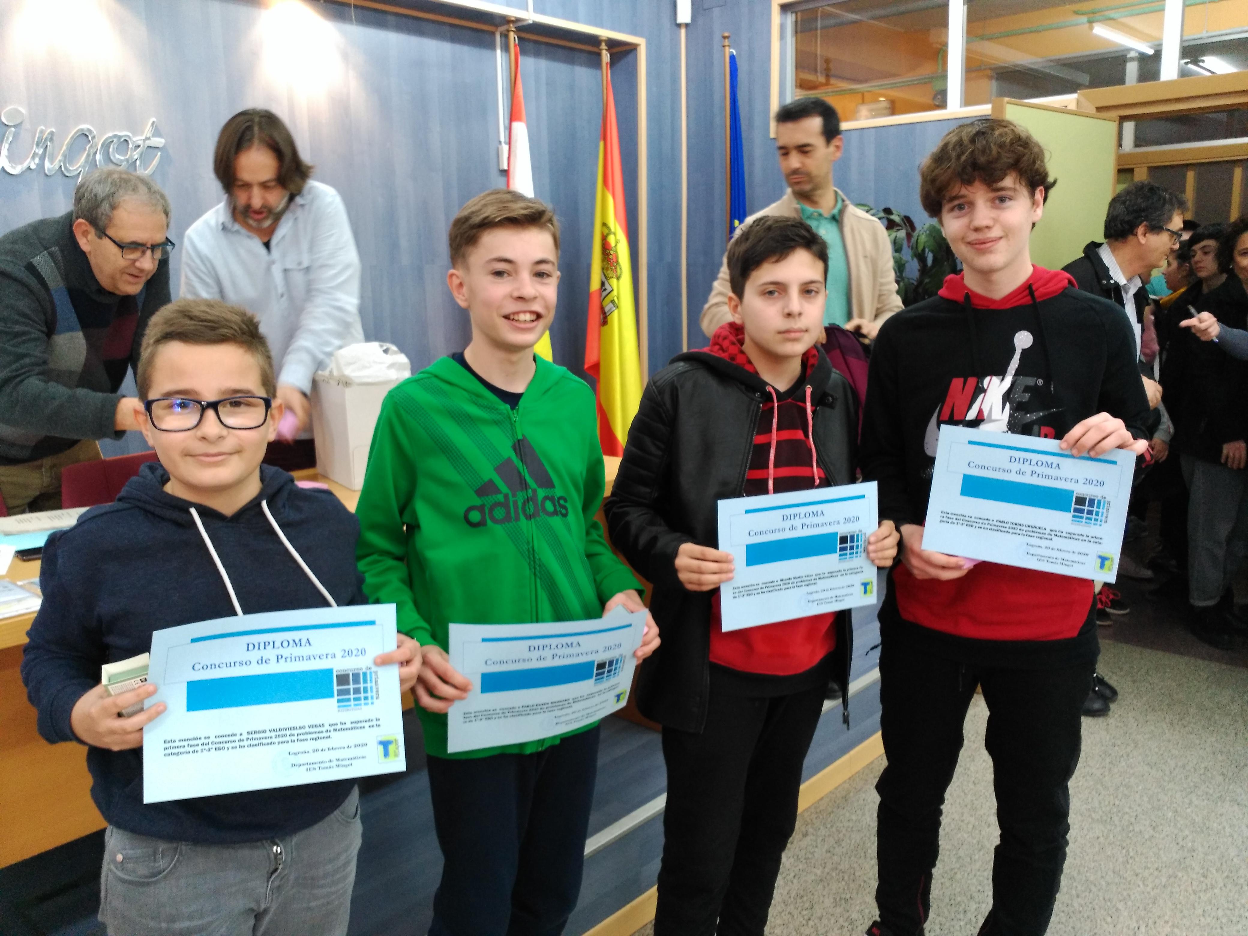 Concurso de Primavera - Ganadores 1º y 2º ESO